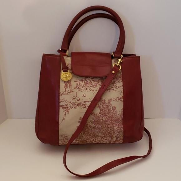 Brahmin Handbags - Brahmin red leather and canvas crossbody bag